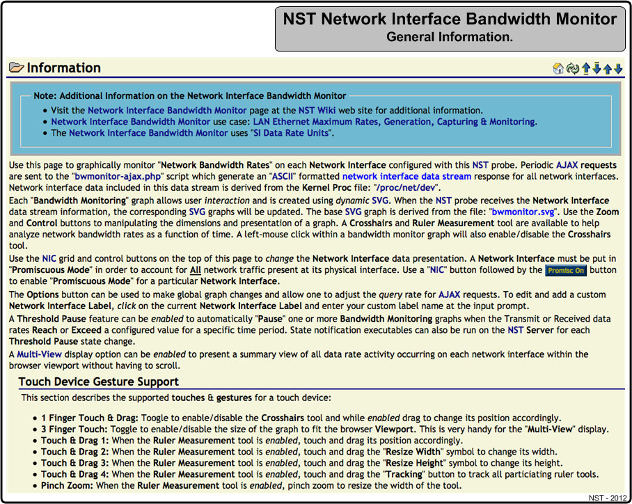 NST Network Interface Bandwidth Monitor Information