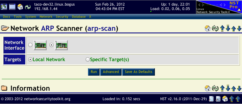HowTo Use The NST WUI arp-scan Page To Quickly Locate Hosts