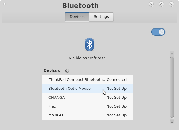 Setting up Bluetooth Optic Mouse
