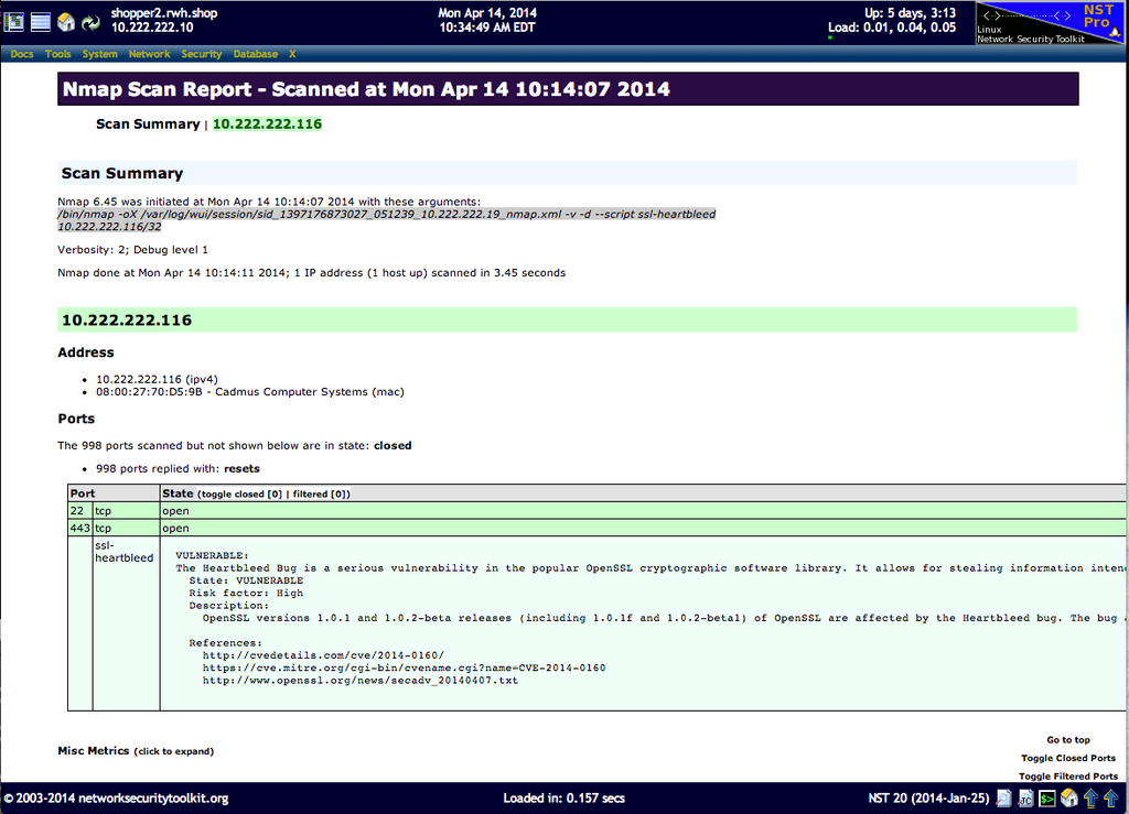 NST WUI Nmap page: Results formated with Nmap XSL, heartbleed vulnerability detected.